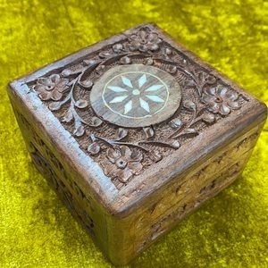 Hand Carved Made in India Ivory Set Star Boho Trinket Jewelry Wooden Box